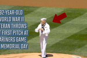 92-year-old veteran throws out Mariners first pitch