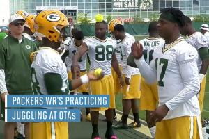 Packers receivers using bricks, juggling to help hands