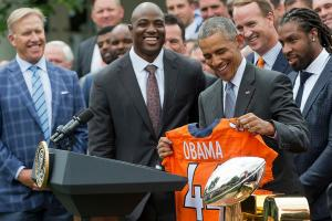 President Obama welcomes Denver Broncos, teases Manning