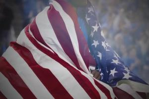 Football and American flags for Flag Day
