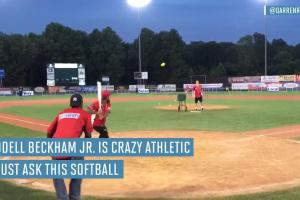 Odell Beckham Jr. crushes a home run at a celebrity sof...
