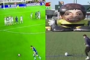 Did Lionel Messi perfect his free kick goal on a Japane...
