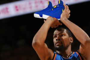 Check out KD's shoes in Warrior colors