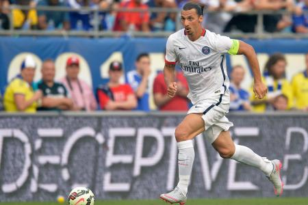 Zlatan Ibrahimovic plays for PSG against Chelsea in the 2015 Guinness ICC