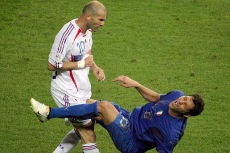 Zinedine Zidane headbutts Marco Materazzi in the 2006 World Cup final