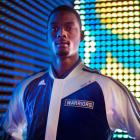 Harrison Barnes models the Warriors' new warm-up jacket. (Adidas)