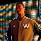 Harrison Barnes models the Warriors' new varsity jacket. (Adidas)