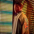 Harrison Barnes models the Warriors' new varsity jacket. (Adidas)