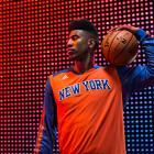 Iman Shumpert models the Knicks' new long-sleeve shooting shirt. (Adidas)