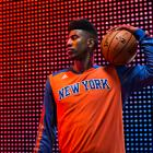 Iman Shumpert models the Knicks' new long-sleeve shooting shirt. (Adidas)