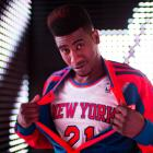 Iman Shumpert models the Knicks' new warm-up jacket. (Adidas)