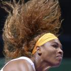 Serena Williams' hair was hard at work during Tuesday's match against  Angelique Kerber of Germany during the WTA Championship in Istanbul. (AP)