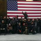 The sled and standing teams at Soldier Field