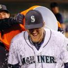 Corey Hart is doused by teammate Kyle Seager following the Mariners 5-3 win over the Angels. Hart had two home runs and four RBI in the game.
