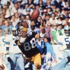 Pittsburgh Steelers wide receiver Lynn Swann makes a diving catch over Dallas Cowboys cornerback Mark Washington. Swann was named Super Bowl MVP after catching four balls for 161 yards and a touchdown in Pittsburgh's 21-17 win over the Cowboys.