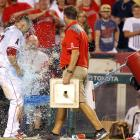 Mike Trout is doused by teammate Erick Aybar after hitting a walk-off solo home run in the ninth inning of the Angels' 7-6 win over the Astros.