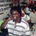 Miami Hurricanes running back Edgerrin James reacts to the news that the Indianapolis Colts chose him with the fourth pick in the 1999 NFL draft.
