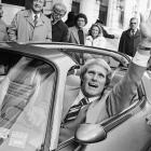 Pittsburgh Steelers quarterback Terry Bradshaw waves from the front seat of his new car in 1979. The vehicle was given to him as a prize after he led his team to a Super Bowl XIII victory over the Dallas Cowboys.  Bradshaw threw for 318 yards and scored four touchdowns in the game.