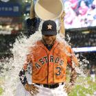 Gregorio Petit is doused after the Astros 3-1 win over the Blue Jays.  Petit hit his first career home run in the game.