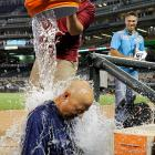 Terry Francona is doused as part of the ALS Ice Bucket Challenge after the Indians 5-0 win over the Twins.