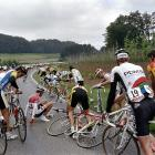 A group of cyclists recover after a fall during the third stage of Tour de France in Francorchamps, Belgium on July 3, 1989.