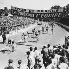 The arrival of the cycling bunch at Albi in France at the first Tour de France in 1903.