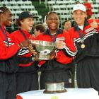 Venus and Serena, pictured here with Lindsay Davenport and Monica Seles, helped lead the U.S. in its 4-1 Federation Cup victory against Russia in 1999.