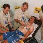 Defending chamption Miguel Indurain of Spain going through medical checkups prior to the start of the Tour de France in 1995.