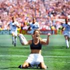 Women's World Cup, July 10, 1999 | U.S. women's soccer player Brandi Chastain exults after kicking the World Cup-winning penalty kick in the 1999 Women's World Cup final.