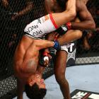 One of the rare moments we've seen Jones caught in trouble. Belfort had Jones caught in a deep armbar during the first round of their bout at UFC 152.