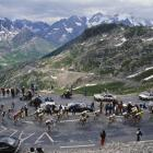 The riders reach the top of the Col du Galibier in France, between Le Bourg-d'Oisans and La Plagne, during Stage 21 of the Tour de France in July 1987.