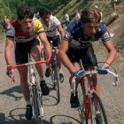 Spanish Julian Gorospe (right) leads a final breakaway from Nimes to Gap in the 73rd Tour de France, with French Jean-FranÁois Bernard (left) and French Bernard Vallet (center).