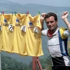 During a day-off on July 12, 1985 in Villard-de-Lans, Frenchman Bernard Hinault, the overall leader of the 72nd Tour de France, displays his four yellow jerseys won in previous years (1978, 1979, 1981, 1982). Hinault won the 1985 edition as well to tie the record set by his compatriot Jacques Anquetil and Belgian rider Eddy Merckx.