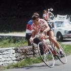 Lucien Van Impe from Belgium, wearing the red and white Polka Dot Jersey of the best climber, rides during the 64th Tour de France in July 1977.