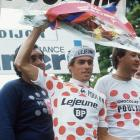 Lucien Van Impe from Belgium waves from podium during the 64th Tour de France between June 30 and July 27, 1977. Van Impe finished third placed in the overall ranking.