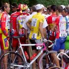 The yellow jersey German Jan Ullrich demonstrates with other cyclists at the beginning of the 12th stage of the Tour de France in Tarascon-sur-Ariege, South of France, in July 1988 to protest against the media coverage of the race focusing on doping affairs.