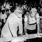 Henri Desgrange (left), founder of the Tour de France, stands next to French rider Roger Lapebie on July, 21, 1937 in Pau, before the start of the 16th stage between Pau and Bordeaux.