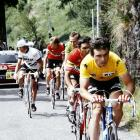 Frenchman Bernard Hinault leads in front of Portuguese Joaquim Agostinho, Dutchmen Joop Zoetemelk and Hennie Kuiper (left) and Swedish Sven-Ake Nilsson during the third stage of the Tour de France between Luchon and Pau on June 30, 1979. Hinault won the stage in a sprint finish beating Belgian Rudy Pevenage and Italian Gian-Battista Barronchelli and went on to capture his second consecutive Tour de France's victory in Paris, winning seven stages overall.