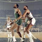 April 5, 1968 | Two giants of the NBA, Bill Russell of the Boston Celtics boxes out Wilt Chamberlain of the 76ers during a game in Philadelphia.
