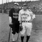 Babe Ruth and Lou Gehrig pose in their ''Bustin' Babes'' and ''Larrupin Lous'' uniforms from their 1927 barnstorming tour. The teams, which consisted mostly of local amateurs and minor leaguers, played 21 games across the country immediately after the Yankees swept the Pirates in the World Series.