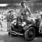 Babe Ruth and Lou Gehrig try their hand at rodeo, fresh off a World Series sweep of the Cardinals, in Oct. 1928.