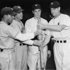 Mel Ott, Jo-Jo Moore, Joe DiMaggio and Lou Gehrig pose together during the 1936 World Series.