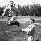Lou Gehrig and Joe DiMaggio run through drills during Spring Training in 1937.