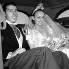 Joe DiMaggio and his bride, radio and screen actress Dorothy Arnold, arrive at Joe's Cafe for a reception following their wedding on Nov. 19, 1939 in San Francisco.