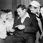 Babe Ruth chats with young fans in 1944.