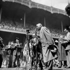 """Babe Ruth thanks the crowd at Yankee Stadium for their ovation on """"Babe Ruth Day,"""" April 27, 1947."""