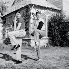 Actor Ronald Reagan gets some firsthand instruction from Cleveland Indians pitcher Bob Lemon in 1951 at Burbank, Calif. Reagan has the role of Pete Alexander, the great Grover Cleveland Alexander of pitching fame, and Lemon is trying to add realism to Reagan's task. Reagan, incidentally, had played baseball at Eureka College in Illinois.