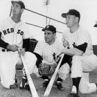 Ted Williams and New York Yankees Yogi Berra and Mickey Mantle pose for a shot at 1953 spring training.