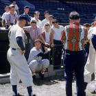 Ted Williams talks hitting during spring training in 1956.