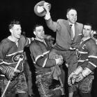 They don't hoist 'em like they used to. Canadiens stars (left to right) Dickie Moore, Bernie Geoffrion and Maurice Richard carried coach Toe Blake on their broad shoulders for a celebratory twirl around the ice after winning the Stanley Cup for the second year in a row. The Habs had just smoked the Bruins, 5-1, in Montreal to clinch the series in five games.